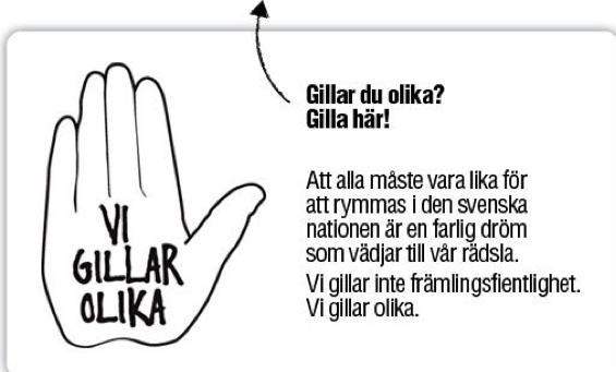 "Bilde fra Aftonbladet sin kampanje ""Vi gillar olika"""
