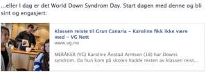 Skjermdump av deling av saken på facebook