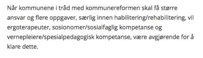 Bilde av tekst fra meldingen der skårstrek vernepleier spesialpedagog fremgår