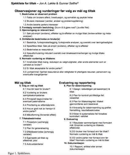 Sjekkliste for målrettet tiltaksarbeid: fra normative og deskriptive premisser til tiltak og evaluering