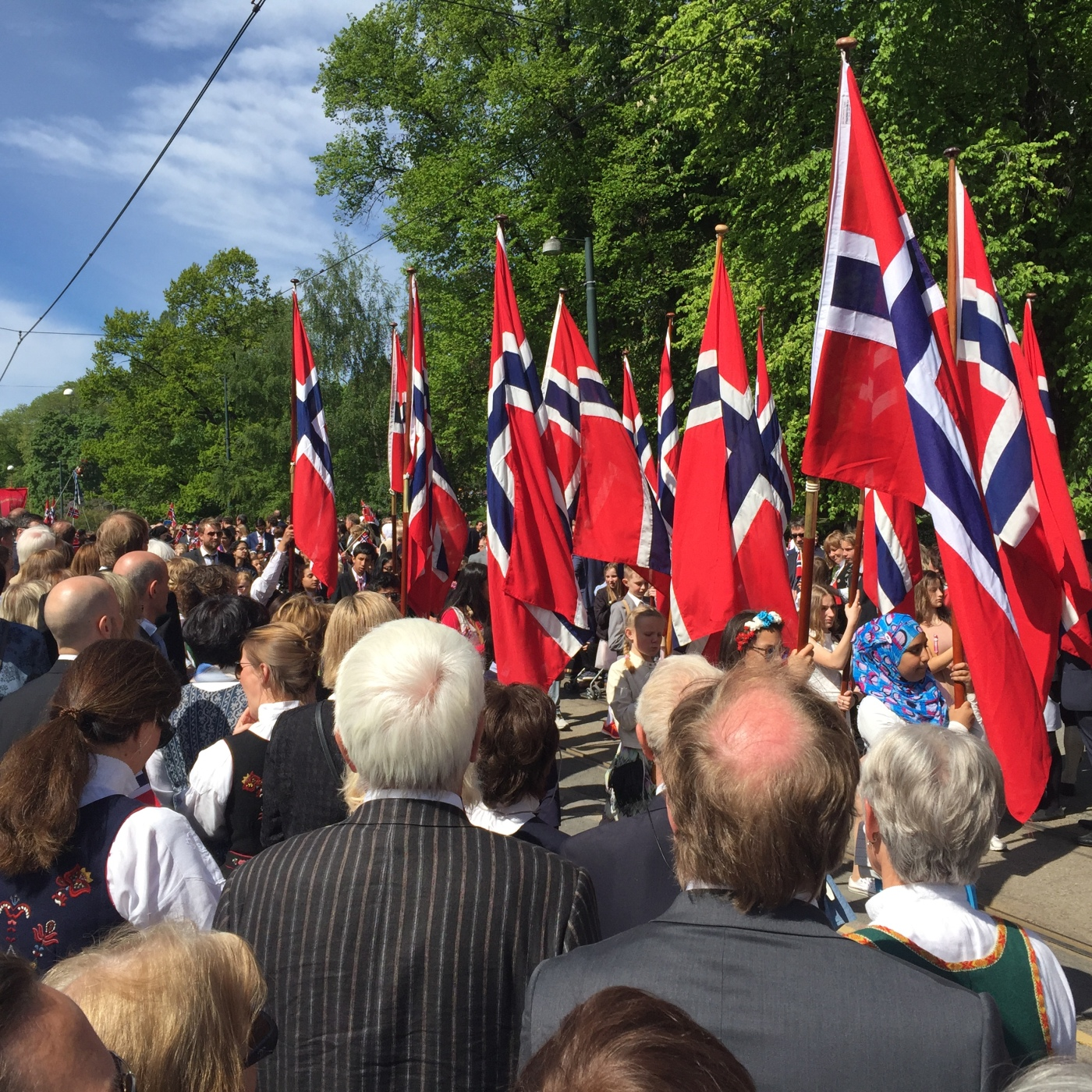 Norske flagg i toget