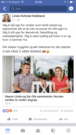 Fra Linda Hofstad Helleland sin Facebookside: Vi må våge å være norske.